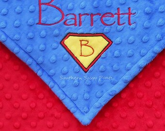 Personalized Superman Inspired Baby Blanket  -  Superhero Minky Blanket for Baby Boys