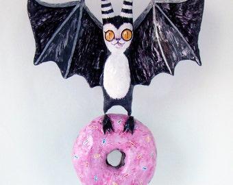 Papier Mache Bat and Donut - Hanging Sculpture