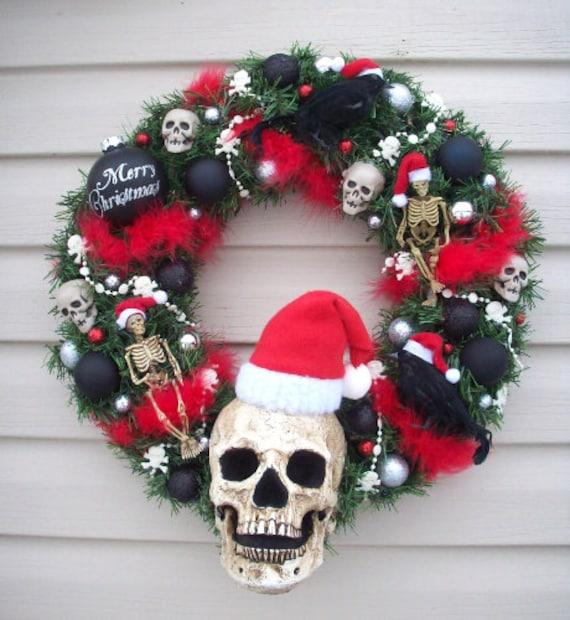 Santa Skull HORROR HOLIDAY WREATH Ravens and Skeletons