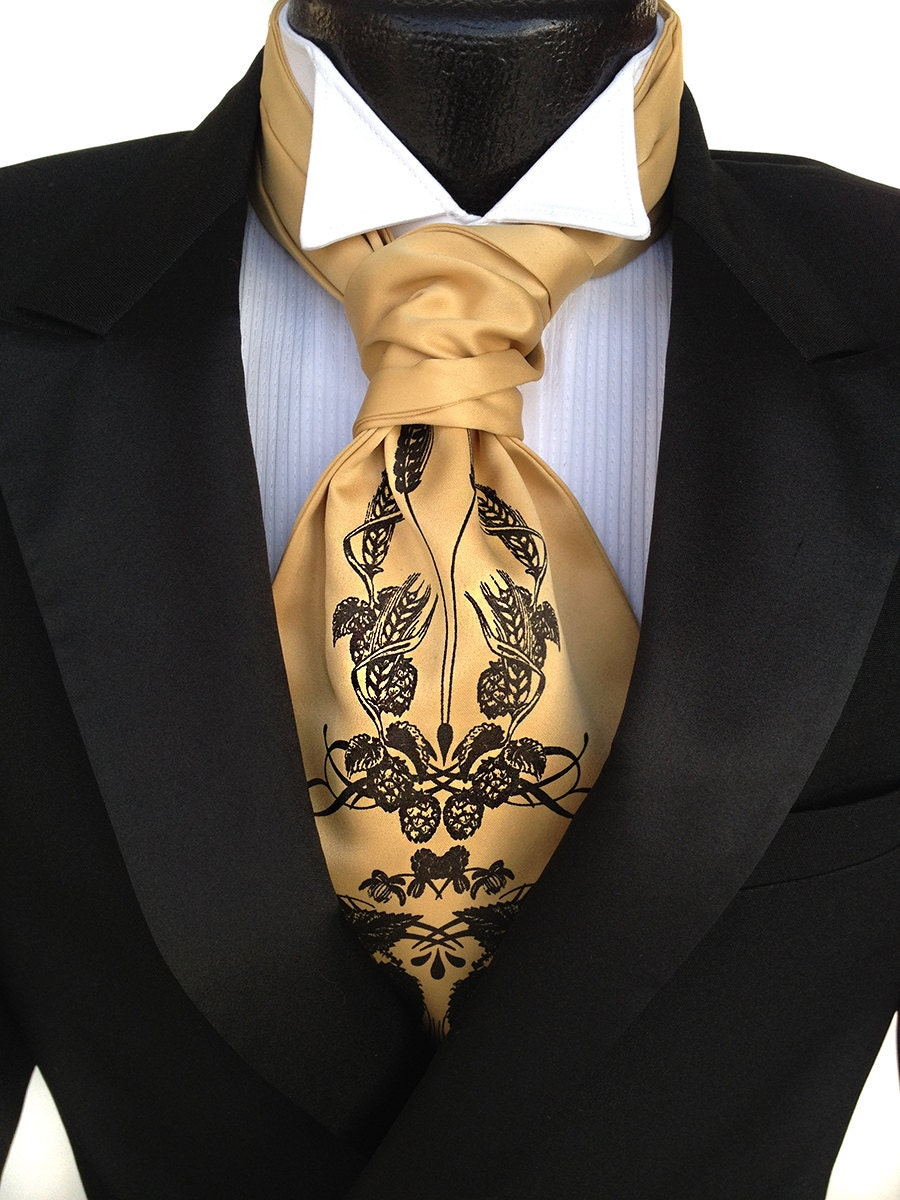 hops and wheat print ascot cravat tie self tie mens