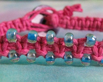 Pink Hemp Bracelet with Light Blue Seed Beads