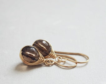 Truffle Earrings - chocolate brown SMOKY QUARTZ 14K goldfilled wire wrapped earrings