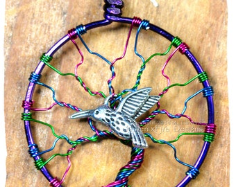 Hummingbird Tree of Life Multicolor Whimsical Fantasy Fairy Faerie Wire Wrapped Candy Colored Multicolor Jeweltone Phoenix Fire Designs