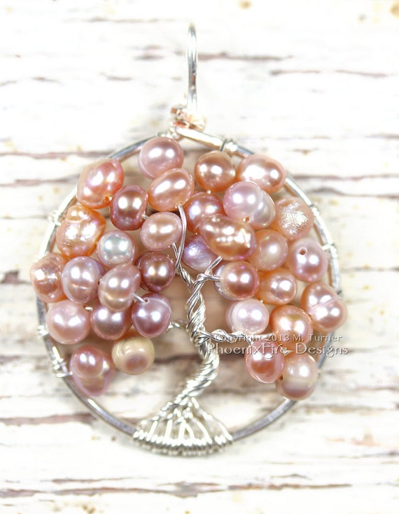 Pink Freshwater Pearl Tree of Life Pendant, Wire Wrapped, Wedding Jewelry, Bridal Jewelry