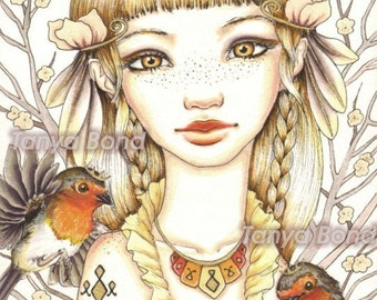 Robyn - beautiful girl with robins - surreal pop fantasy art - 5x7 print of an original pen and ink illustration by Tanya Bond
