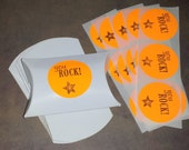 BOX + STICKER Gift Packaging Party Set / Medium Pillow Box - Hand Stamped  Labels/  You Rock Teen Birthday