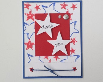 CARD / Thank you / Blank  / Red White and Blue / Military Patriotic July 4th