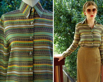 FOXY 1970's Vintage Green Mustard + Brown Striped Shirt with Pointed Collar // size Small Med