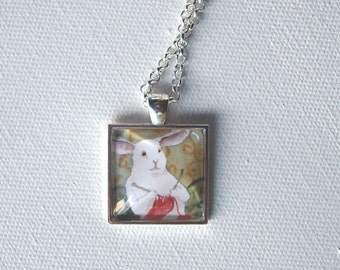 Knitting Bunny - Square Pendant - Unique Rabbit Necklace