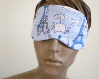 Paris Sleep Mask Blue Eiffel Towers Poodles And Cafe Tables Harlequin Contrast Padded Handmade Sleepmask