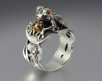 size 8.75 Ready to ship - BEFORE THE KISS the Frog Prince ring in silver and 14k gold
