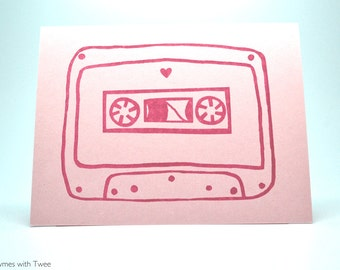 Mix Tape Love Card, Pink anniversary or valentine, I'll be the b-side to your a-side.