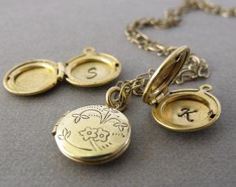 Tiny Initial Locket on Brass Chain, Inital Brass Locket, Keepsake Locket, Personalized Jewelry, Custom Initial, Gold Brass Locket
