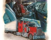 """Wolfman Trucker Looking for Directions 8.5 x 11"""" print by Ray Young Chu (Wolf Man Searching)"""