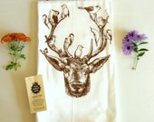 Deer & Birds Kitchen Dish Towel-Hand Printed- Soft Cotton Tea Towel- Flour Sack- Chocolate Brown