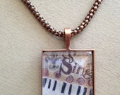"""Black, White and Brown """"Sing"""" Wearable Art Pendent - Glass Tile Square Bezel Setting with Cooper Chain"""