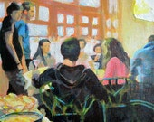 Original acrylic painting on canvas Young Cafe Society, group people portrait 8x8in friends hanging out