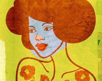 Lovely Art Print,  (Old Hollywood Natural Hair Glamour Portrait Illustration)