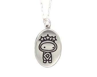 Super Cute Virgo Necklace - Sterling Silver Sun Sign Pendant - Astrology Medallion