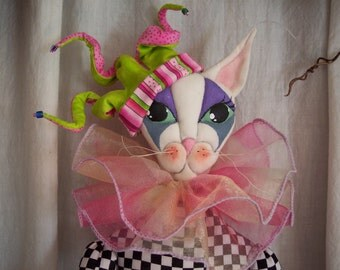 PDF Sewing Patterns - Mirabelle Cat Lady Jester Doll Fairy Cloth Art Doll Workshop - Cat Crafts An original pattern by Paula McGee