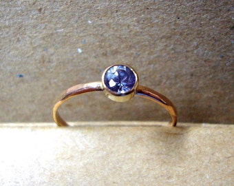 Ring Vivid Water Sapphire eco-friendly 14k gold filled 4mm conflict free, Natural violet purple  Custom Made & tube set Iolite Engagement