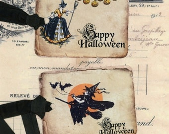 Halloween Tags - Vintage Halloween Tags - Witch  Tags- Happy Halloween - Witch on Broom , Set of Six , Bluebird Lane Original