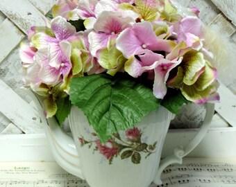 Upcycled Vintage Pompadour Rose Shabby Chic Style China Tea Pot Floral Centerpiece, Floral Arrangement, Wedding Centerpiece