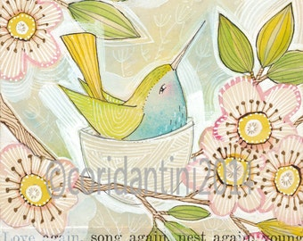 watercolor of a hummingbird - 8 x 8 -  archival - limited edition - mixed media watercolor by cori dantini