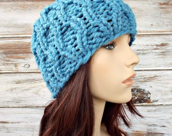 Sky Blue Cable Beanie Knit Hat Blue Womens Hat - Amsterdam Cable Beanie - Blue Hat Blue Beanie Womens Accessories Winter Hat