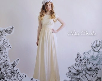 Ivory Cotton Floor Length Beach Wedding Dress Petra Dress Cap Sleeves Gathered Empire Skirt Cut Out Detail Sample Sale size 0 ready to SHIP
