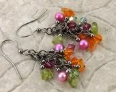 Tropical Paradise pink orange and green gemstone Swarovski gunmetal french hook earrings