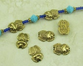 5 Egyptian Scarab Beetle Beads > Egypt Mummy Archeology - Raw American made Lead Free Pewter in gold tone finish - I ship internationally