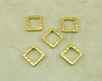 5 TierraCast Small Square Diamond Hammertone Hammered Bead Link Ring - 22kt gold plated Lead Free Pewter - I ship Internationally 3099