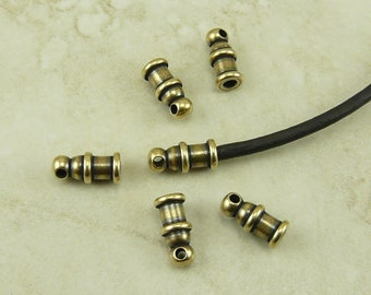 6 TierraCast 2mm Pagoda Leather Cord Ends > Brass Ox Oxide Finish Plated Lead Free Brass - I ship Internationally 0200