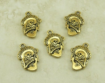 5 TierraCast Guitaro Skeleton Playing Guitar Charms > Day of Dead Sugar Skull 22kt Gold Plated Lead Free Pewter - International Ship 2318