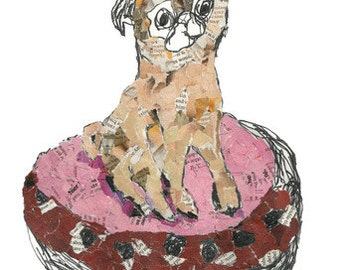 Pug Collage Note Cards - Sitting Pretty