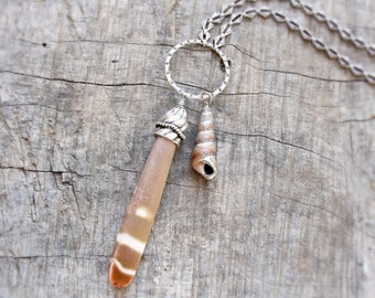 Sea Urchin Spine and Seashell Necklace - Tribal