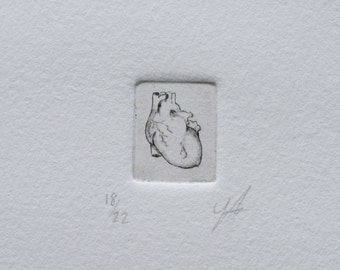 Small Anatomical Heart Print Copper Etching Drypoint