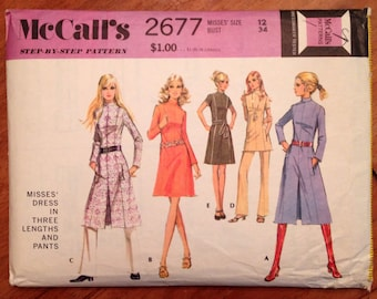 1970s Mod Dress Pattern  Vintage McCall's 2677