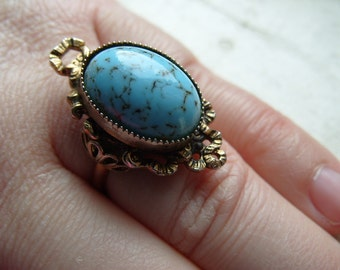 FREE SHIPPING Vintage Brass Ring with Turquoise Center Accent - Adjustable Band