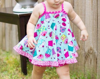 Baby Dress Sewing Pattern - Ruffled Baby Dress - infant to 24 months PDF