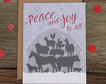 holiday card set / peace farm animals