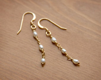 Delicate Tiny Pearl Earrings with Three Freshwater Pearls Wire Wrapped with 14k Gold Fill Wire on French Hook Earwires