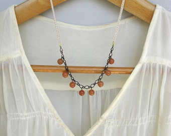 Cotton and Stone Beads Necklace