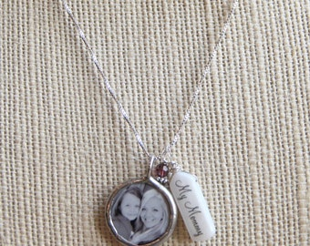Name tag birthstone photo necklace
