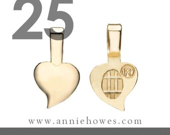 Heart Shaped Aanraku Bails - 25 Small Gold Plated Bails for Scrabble Tiles and Glass Pendants