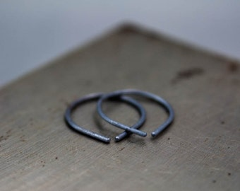 Black Silver Earring, Small Black Hoop Earrings, Simple Jewelry, Oxidized Silver Earring