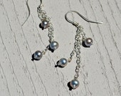 RESERVED FOR LOVESCATSANDKNITS Gray Pearl Triplet Dangle Earrings on Sterling Silver Chain, Hand Crafted Ear Wires, 1.25""