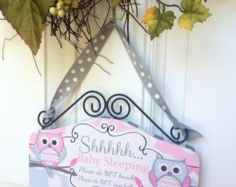 Baby SLEEPING Sign - Cute OWLS pink and gray Door sign - Shhh Baby Sleeping Do not knock - Baby Shower Gift front door wooden sign