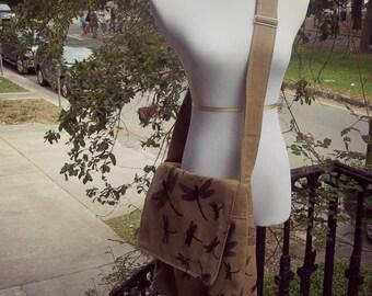 Brown Dragonfly Messenger Bag - Large - Adjustable Strap - Pockets - Key Fob